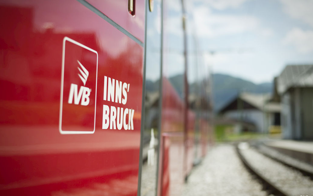 Close-up of IVB tram with IVB Innsbruck logo