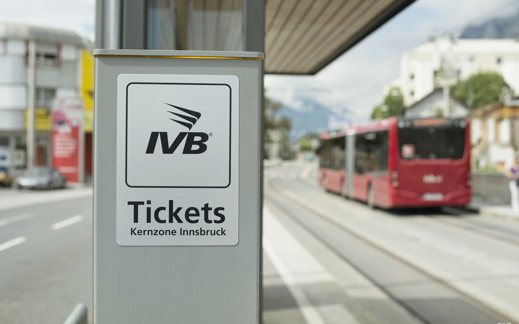 IVB ticket machine with IVB bus in background