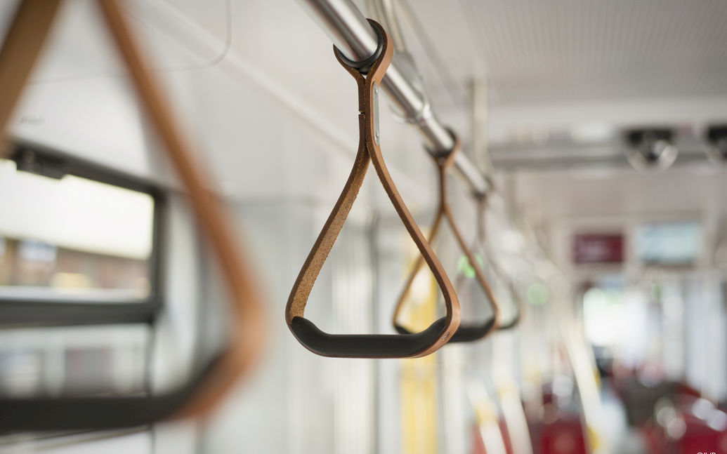 IVB tram: interior view of grab handles attached to ceiling
