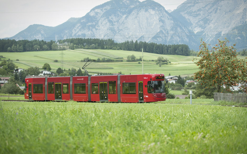 IVB tram in natural landscape